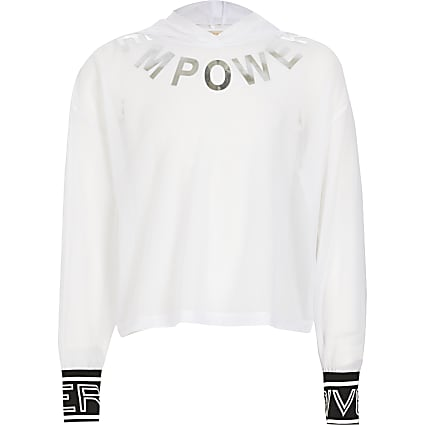 Girls RI Active white mesh 'Empower' hoodie
