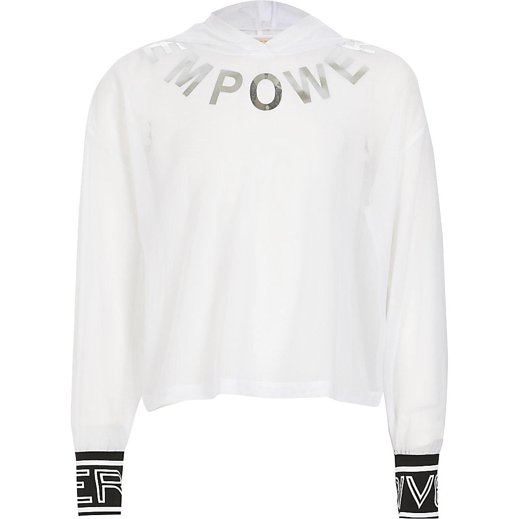 RI Active - Witte hoodie met meshen 'Empower'-print voor meisjes