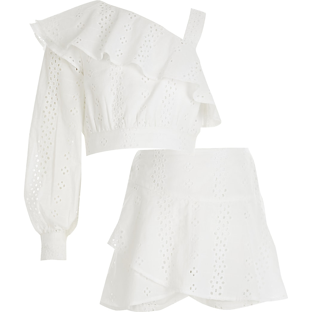 Girls white broderie one shoulder top outfit