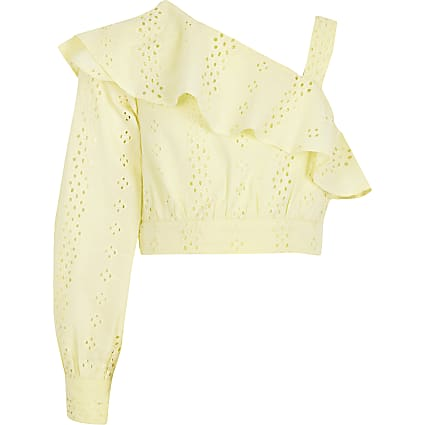 Girls yellow broderie one shoulder crop top
