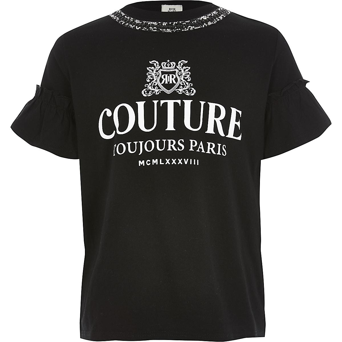 Girls black print embellished neck T-shirt