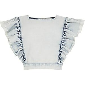 Blaues, kurzes Jeansoberteil mit Rüschen für Mädchen
