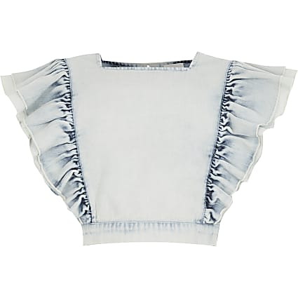 Girls blue frill cropped denim top