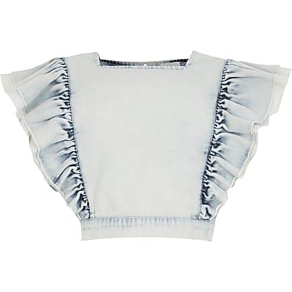 Girls blue frill cropped denim top