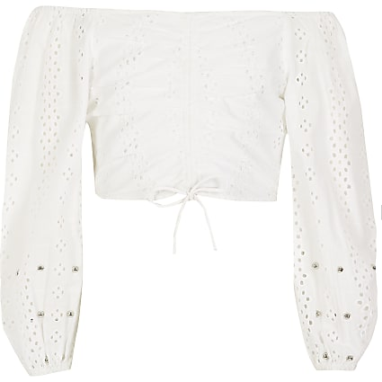 Girls white broderie ruched bardot top