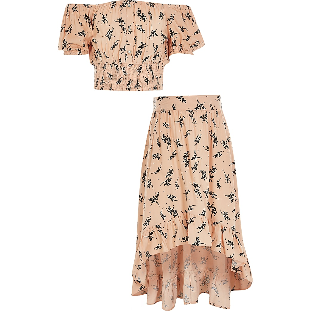 Girls pink floral cropped bardot top outfit