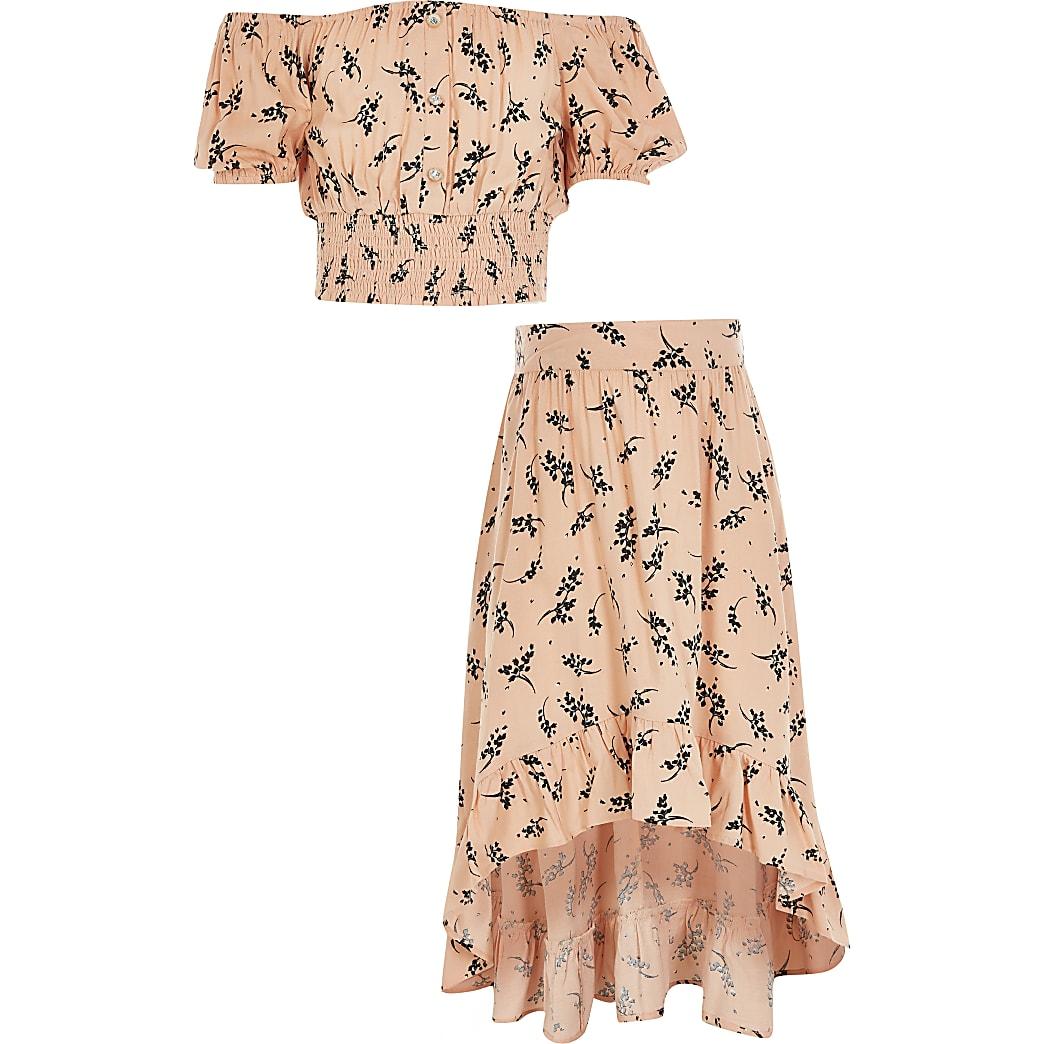 Tenue avec top Bardot court rose fleuri pour fille