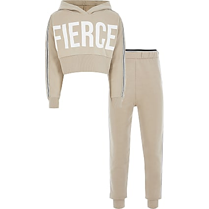 Girls beige 'fierce' crop sweatshirt outfit