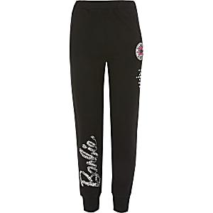 Pantalons de jogging Barbienoirsà sequins pour fille
