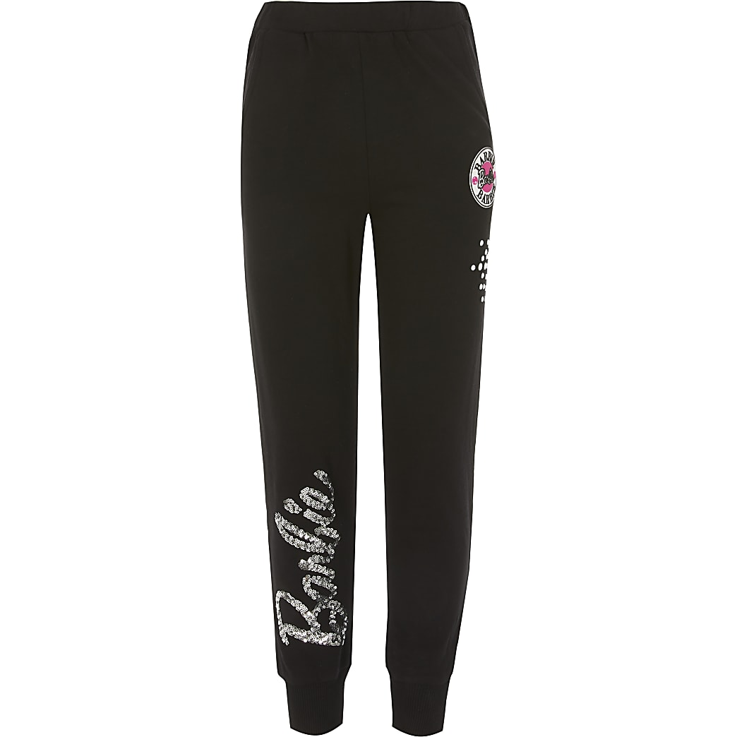 Girls Barbie sequin black joggers