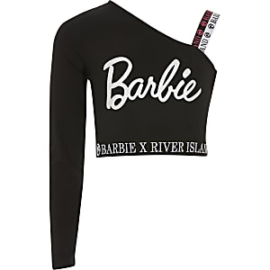 """Asymmetrisches schwarzes Crop-Top """"Barbie"""" für Mädchen"""