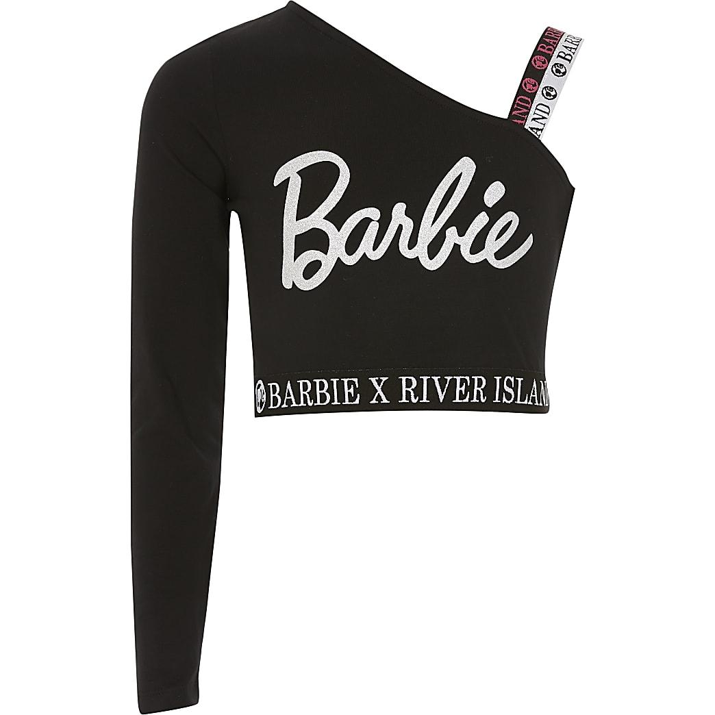 Girls Barbie black asymmetric cropped top