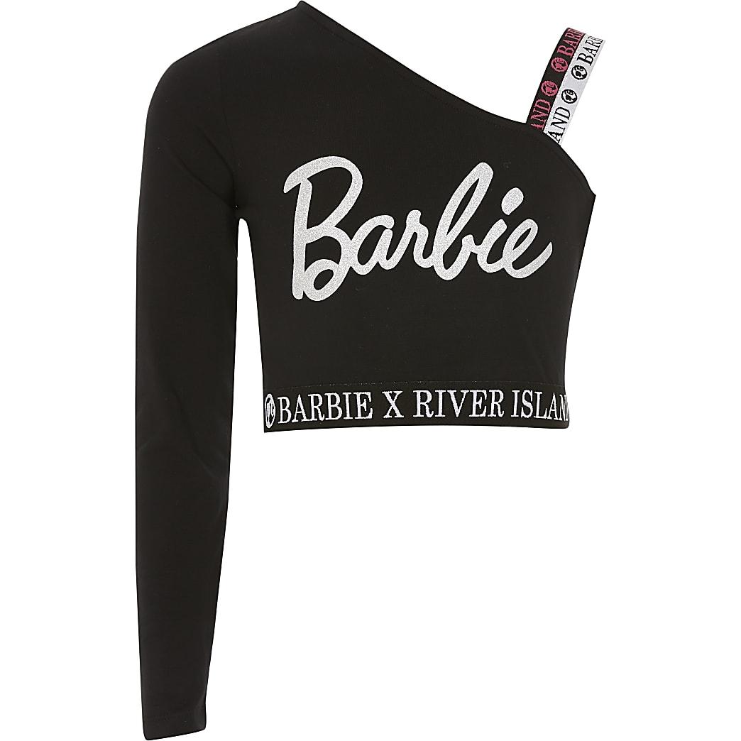 Barbie - Zwarte asymmetrische cropped top voor meisjes