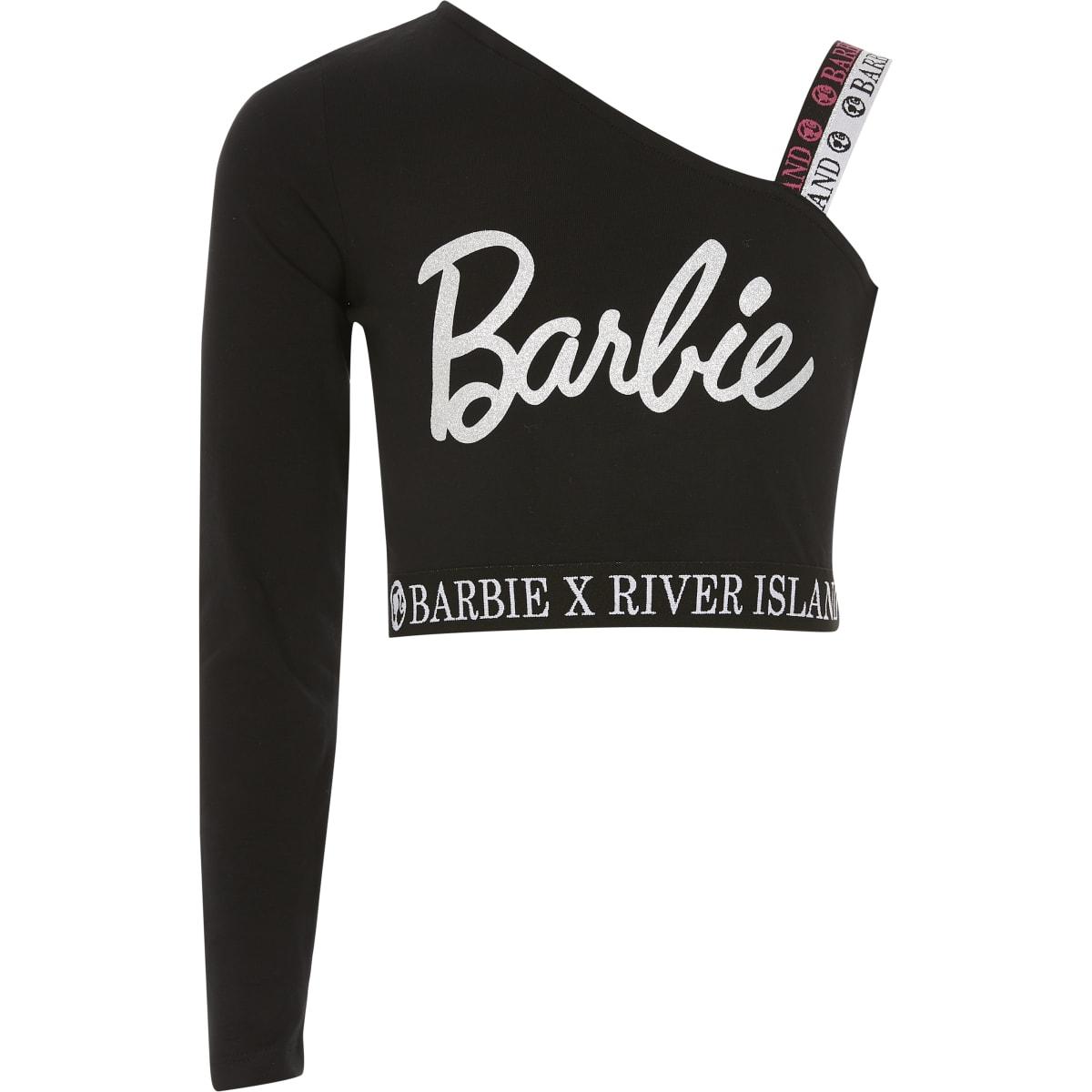 Girls Barbie black asymmetric cropped top