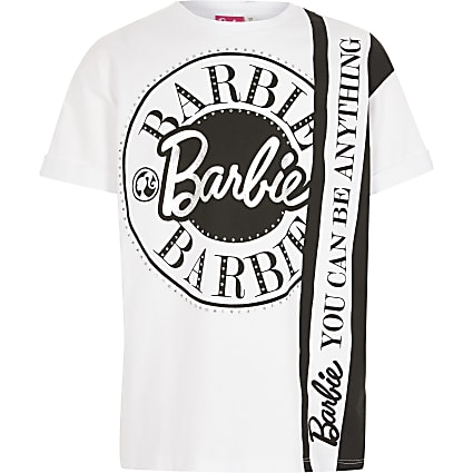 Girls Barbie white printed T-shirt