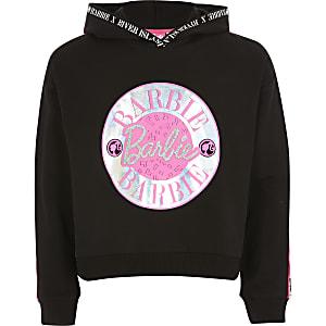 Schwarzer Hoodie mit Barbie-Folienprint für Mädchen