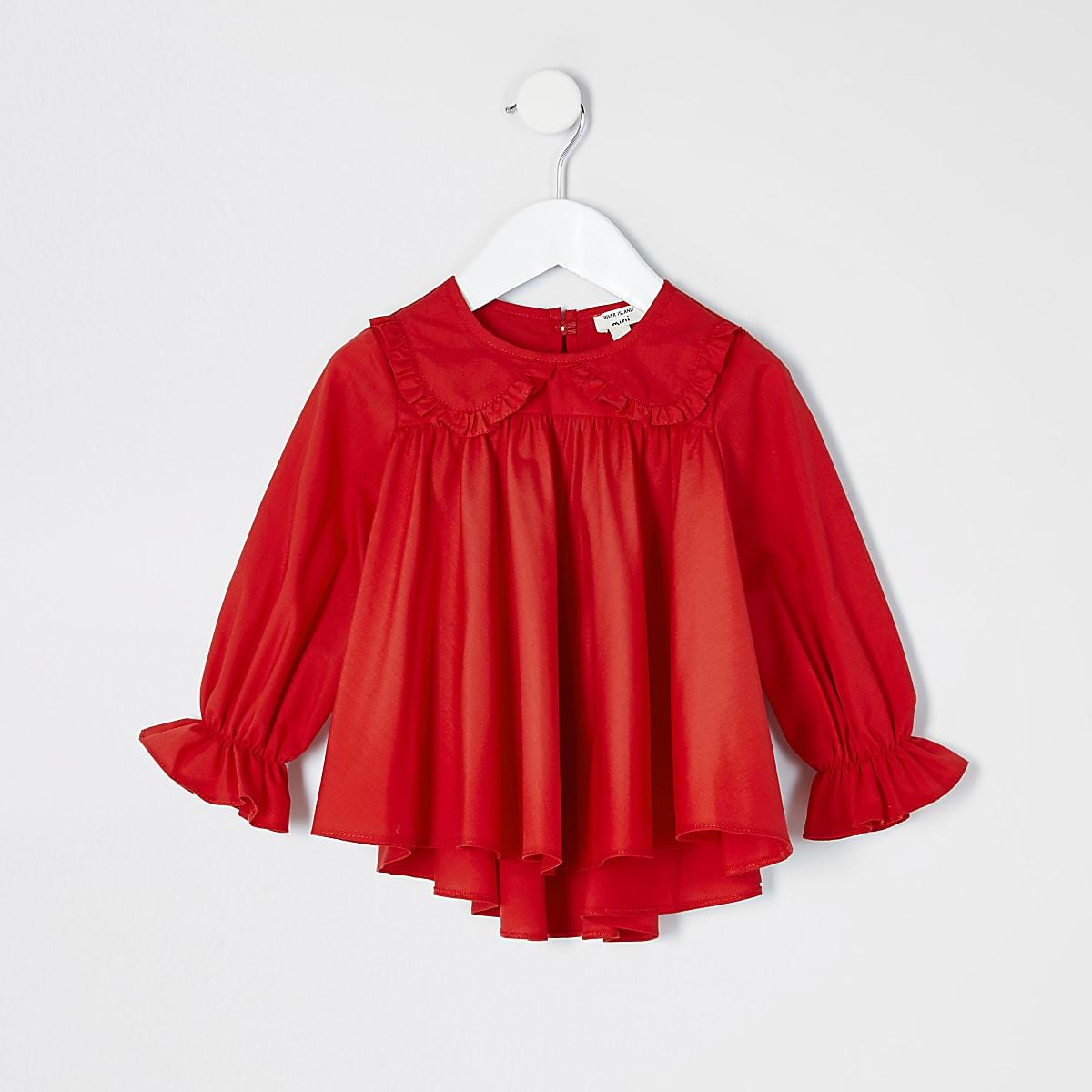 Mini - Rode poplin top met ruches aan de kraag voor meisjes