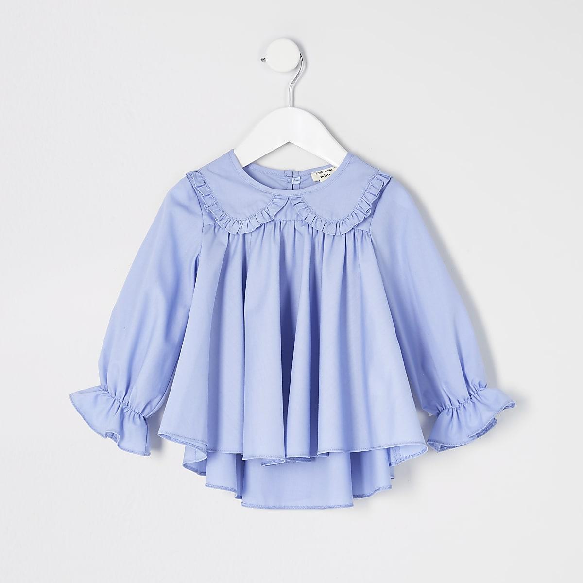 Mini - Blauwe poplin top met ruches aan de kraag voor meisjes