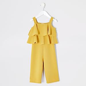 Mini – Gelber, abgestufter Jumpsuit mit Rüschen für Mädchen