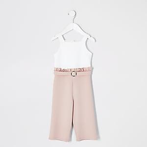 Mini – Pinker und weißer Jumpsuit mit Rüschen für Mädchen