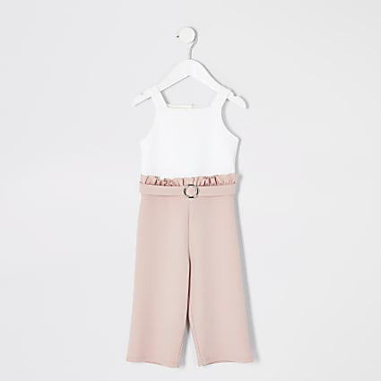 Mini girls pink and white frill jumpsuit