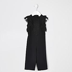 Mini girls black lace frill sleeve jumpsuit