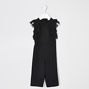 Mini girls black lace frill sleeve jumpsuit