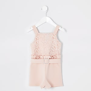 Combi-short rose en dentelle à volants Mini fille