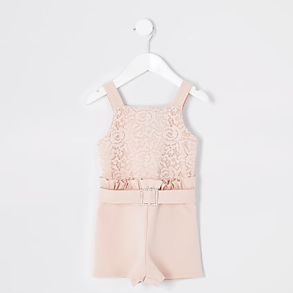 Mini girls pink lace frill playsuit
