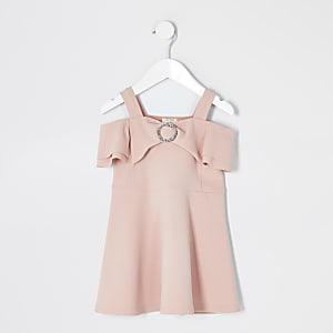 Mini – Rosa Skater-Kleid mit Schleife im Bardot-Stil für Mädchen