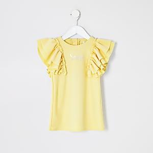 Mini - Gele jurk met 'Sassy'-tekst en mouwen met ruches voor meisjes