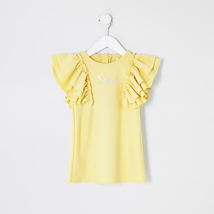 Mini girls yellow ' Sassy' frill sleeve dress