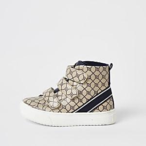 Mini - Bruine hoge RI sneakers voor jongens