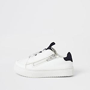 Mini - Witte sneakers met vetersluiting en rits opzij voor jongens