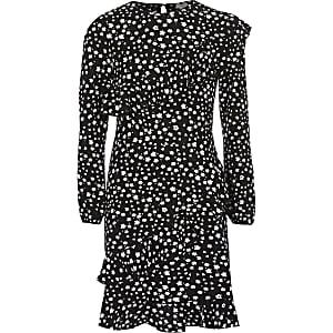 Schwarzes Rüschenkleid mit Blumen-Print für Mädchen