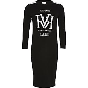 Zwarte jurk met lange mouwen en RVR-print voor meisjes