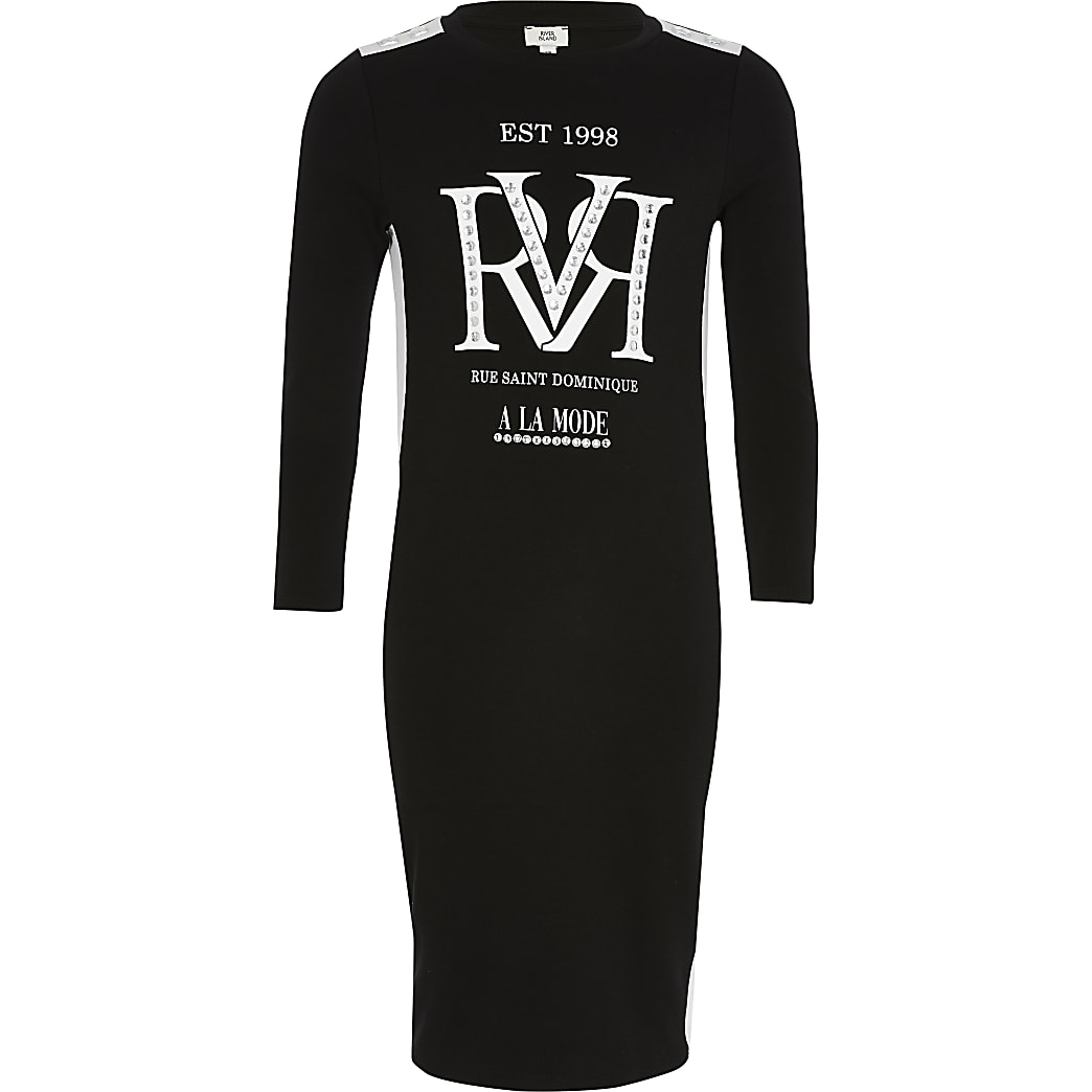 Girls black RVR long sleeve dress