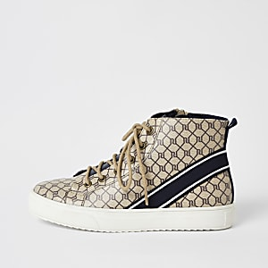 Bruine hoge sneakers met vetersluiting en RI-monogram voor jongens