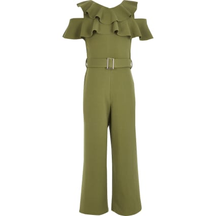 Girls khaki cold shoulder belted jumpsuit