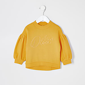 Sweat « Mini diva » jaune Mini fille