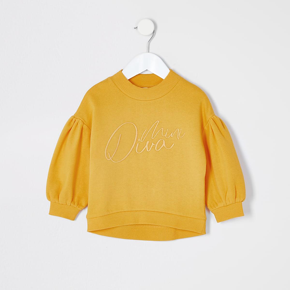 Mini girls yellow 'Mini Diva' sweatshirt