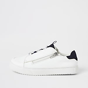 Baskets blanches à lacets et zip latéral pour garçon