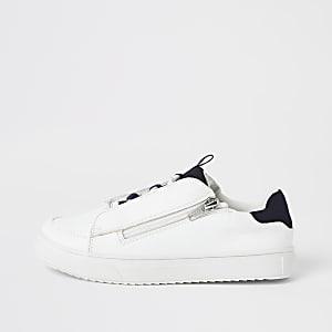 Witte vetersneakers met rits opzij voor jongens