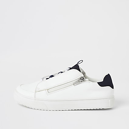 Boys white lace-up zip side trainers