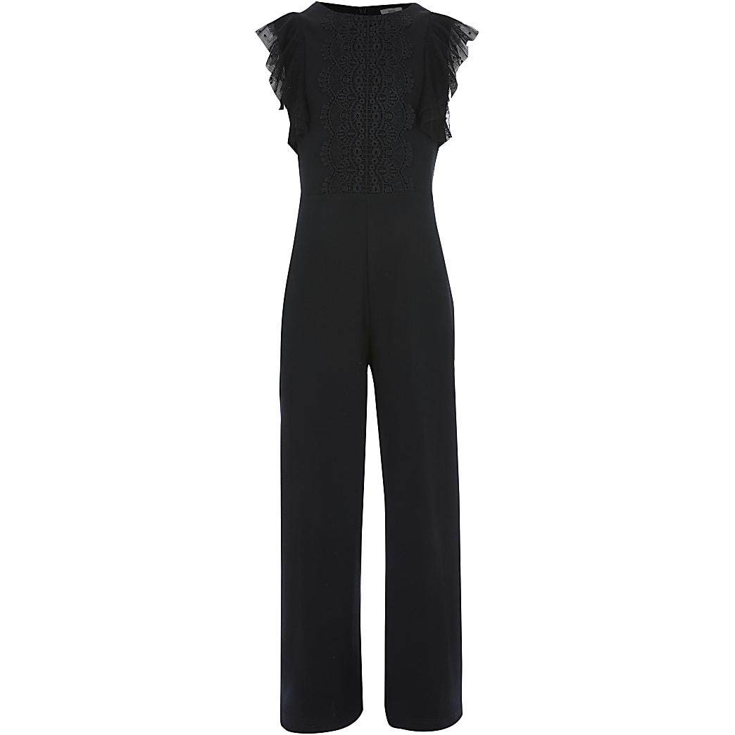 Girls black lace front frill sleeve jumpsuit