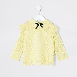 Mini - Gele blouse met kant en strik rond hals voor meisjes
