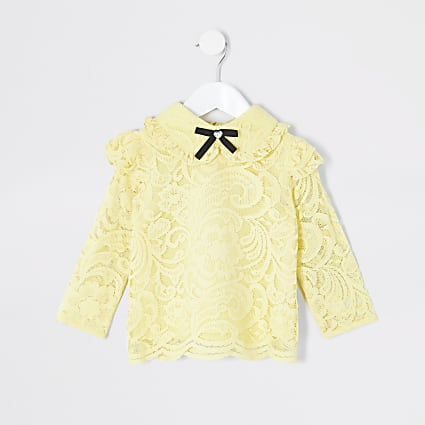 Mini girls yellow lace bow collar blouse