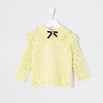 Mini girls yellow lace bow collar blouse