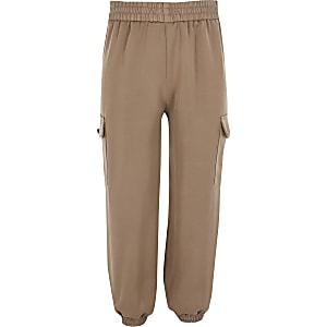 Pantalons de jogging en satin grège pour fille