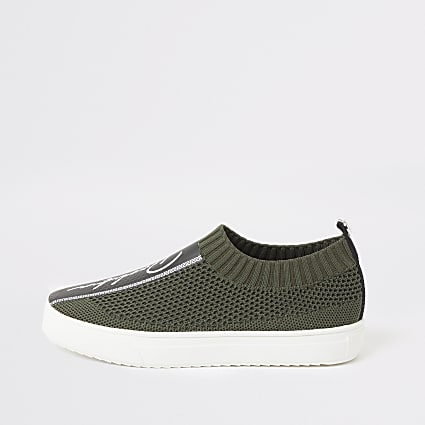 Boys khaki Prolific knit trainers